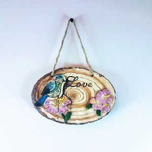 #H10 Love Wall Hanging Plaque With Bird & Flowers